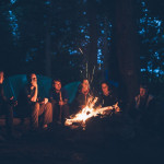 Campfire at campground