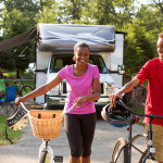 Family biking at RV park