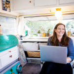 Women working remotely from RV