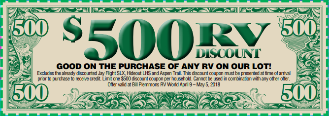 Bill Plemmons Open House RV $500 dollars off