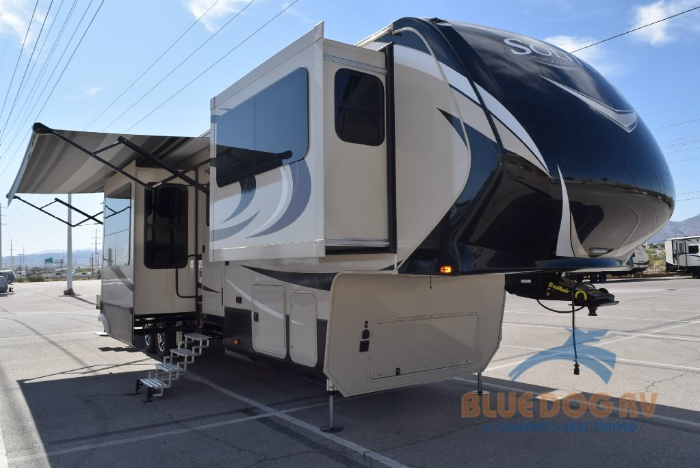 Grand Design Solitude 375FL Fifth Wheel  Front Living Luxury  Blue Dog RV