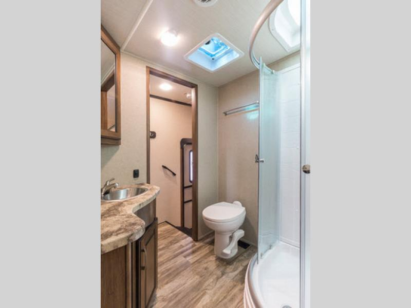 bathroom in reflection fifth wheel