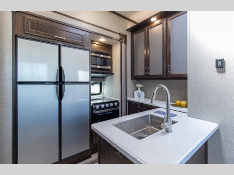 Momentum G-Class Toy Hauler Fifth Wheel kitchen
