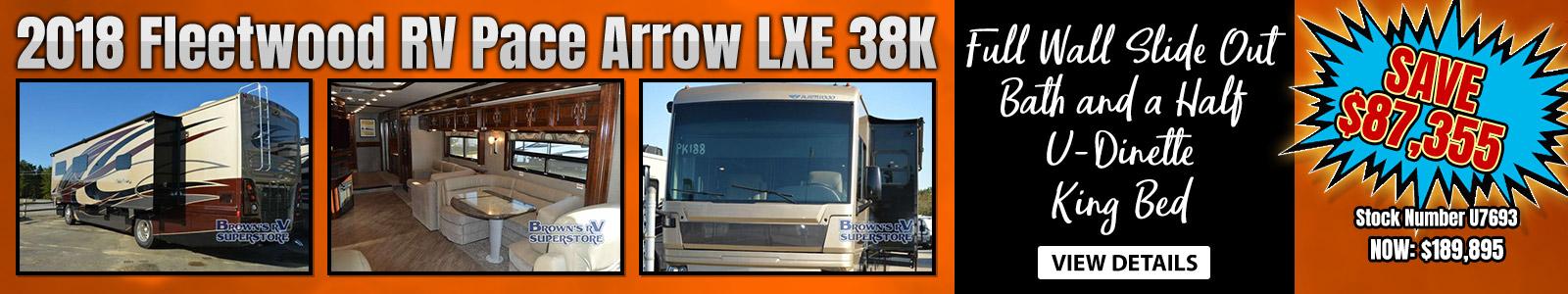 2018 FLEETWOOD RV PACE ARROW LXE 38K Banner