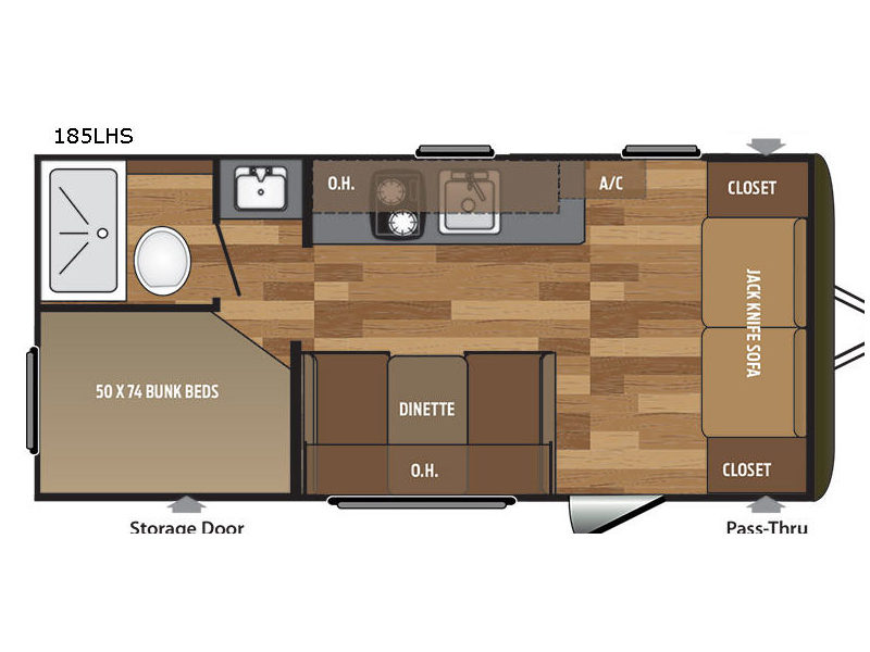 Keystone Hideout Hideout 185LHS Single Axle Travel Trailer Floorplan