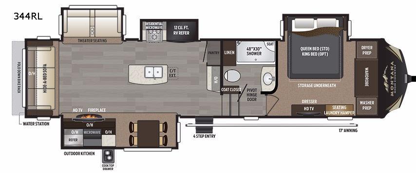 Keystone Montana High Country 344RL Real Living Fifth Wheel Floorplan