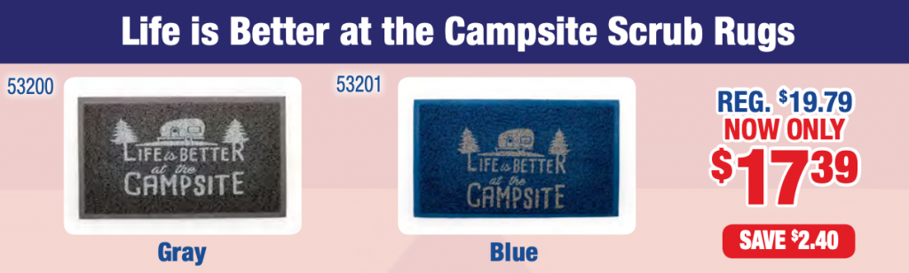 life's better at the campsite scrub mat