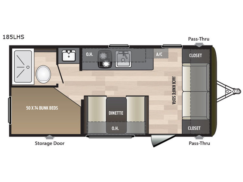 2018 Keystone RV Hideout Single Axle 185LHS floorplan