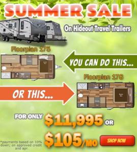 Summer Sale on Hideout Travel Trailer
