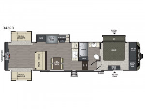The Keystone Laredo 342RD 5th Wheel features 3-space living and  a huge king bedroom with master closet.