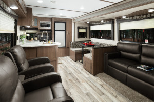 "Hideout travel trailers feature a Furrion glass top oven, 81"" Interior height, Porcelain foot flush toilet, Residential batten strips on ceiling, and more!"
