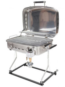 The Stainless Steel Faulkner Grill will work on a low pressure RV LP system. It is available at Byerly RV in St. Louis, MO