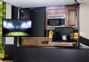 "The Keystone Laredo 5th Wheel is packed with features like: solid surface counter tops, frameless windows, 50"" residential shower, and Rotaflew Pin Box."