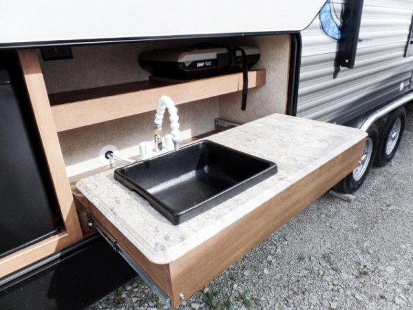 Catalina Legacy travel trailer exterior kitchen and bar