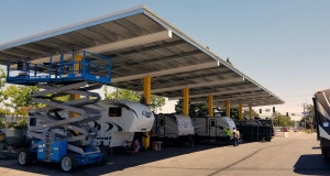 One of two of the Solar Arrays installed at Folsom Lake RV that provide power and work stations.