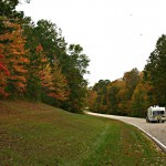 RV on the Road in Fall