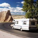 RV driving through Natl Park