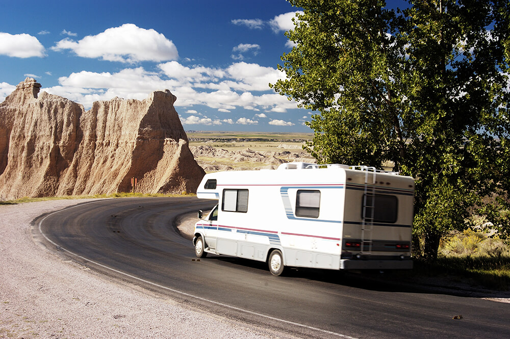RV driving through Natl Park