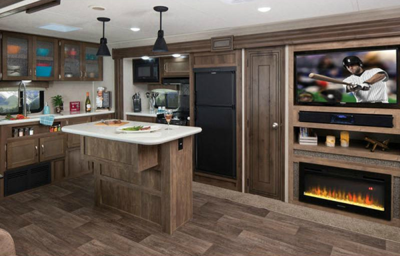 puma travel trailer kitchen with island