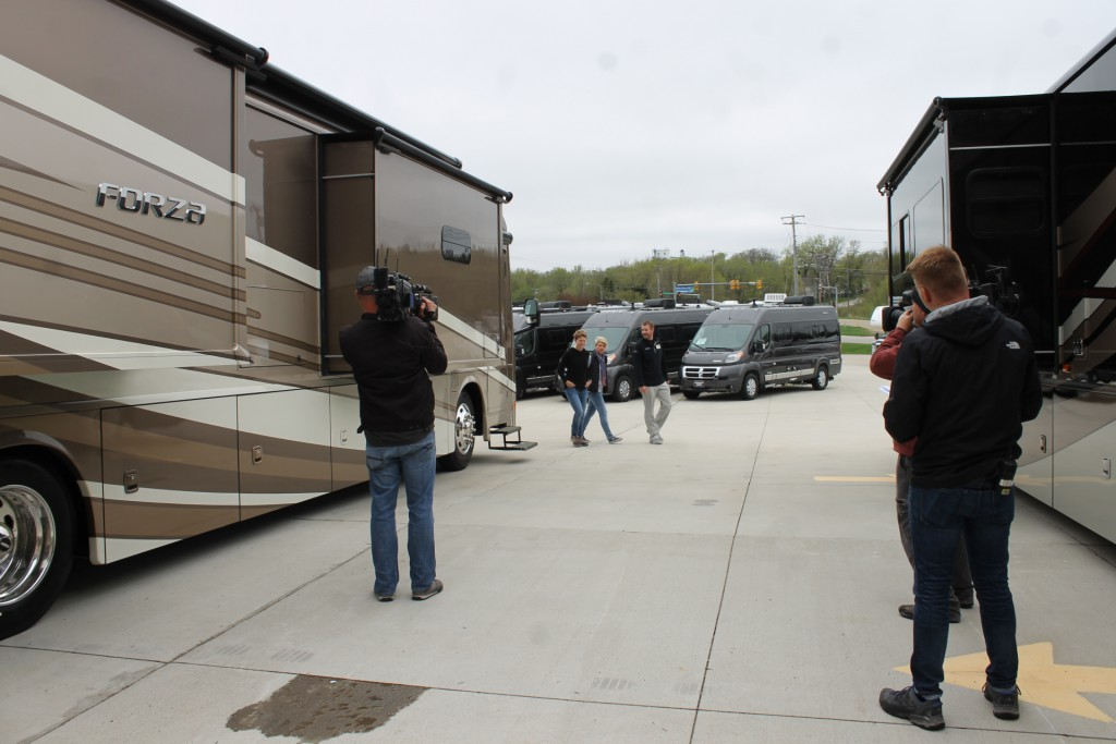 Lichtsinn RV Sales Consultant Reed Burkholder Shows Ann and Lin a Winnebago Forza in an Upcoming Episode of Going RV