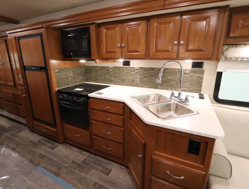 Kitchen in the Winnebago Vista 29VE.