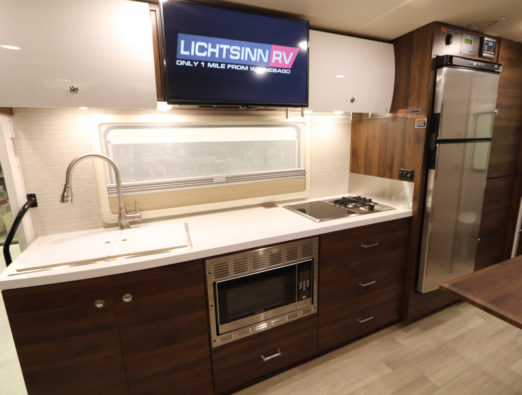 Fully Functioning Kitchen in the Winnebago View and Navion 24D floorplan.