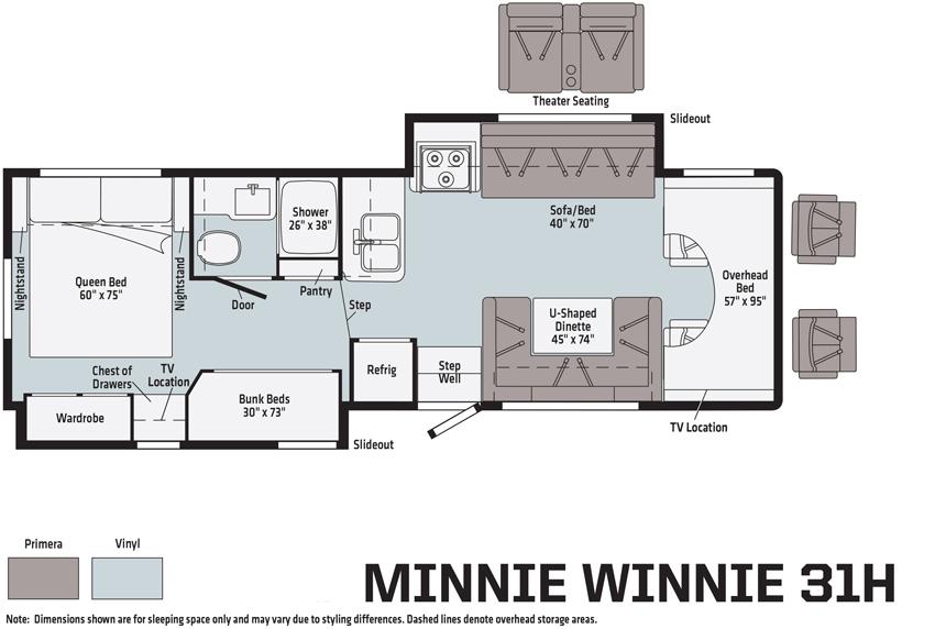 The Winnebago Minnie Winnie 31H Floorplan