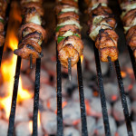 Skewers Being Grilled