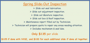 Spring Slide Outs Inspection