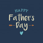 Happy fathers day card with icons heart and arrow. Editable vector design.