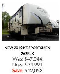 2019 KZ Sportsmen 262RLK