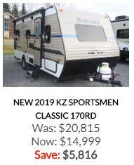 2019 KZ Sportsmen Classic 170RD