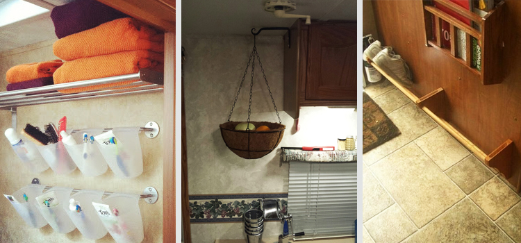 rv organization, rv hacks for a well organized rv, picture of a toiletry holder on the left with a hanging fruit basket in the middle and shoe storage on the back of a rv dinette on the right