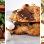 3 camping recipes thatll make you look genius, picture of 3 different camping recipes next to each other, grilled sausage and green beans on the left camping cookie in the middle and grilled eggs on the right