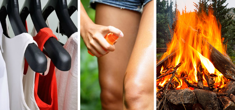 3 simple nature hacks, picture of clothing options on the left with insect repellent in the middle and a camp fire on the right, nature hacks