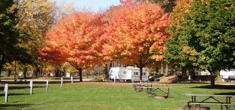 best kid friendly camping locations in ohio, picture of roundup lake rv resort in ohio with beautiful trees in the fall and a rv parked