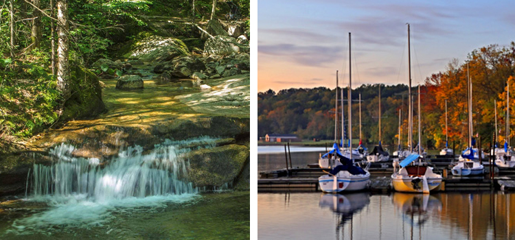 2 of the best camping locations in ohio, picture of mohican state park and geneva state park next to each other, camping locations in ohio