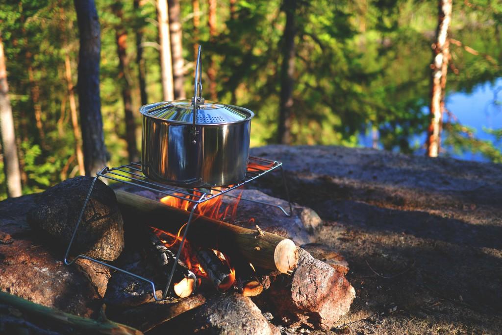 Pot over fire