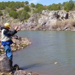 Ken Johnson hooks a nice rainbow trout at Lower Enterprise Reservoir.
