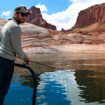Jake Wixom enjoys his first day of bass fishing at Lake Powell.