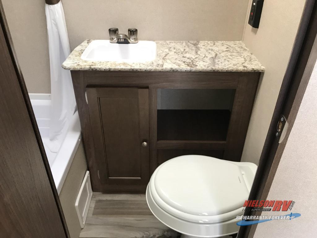 bathroom in single axle travel trailer