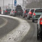 snowy traffic jam