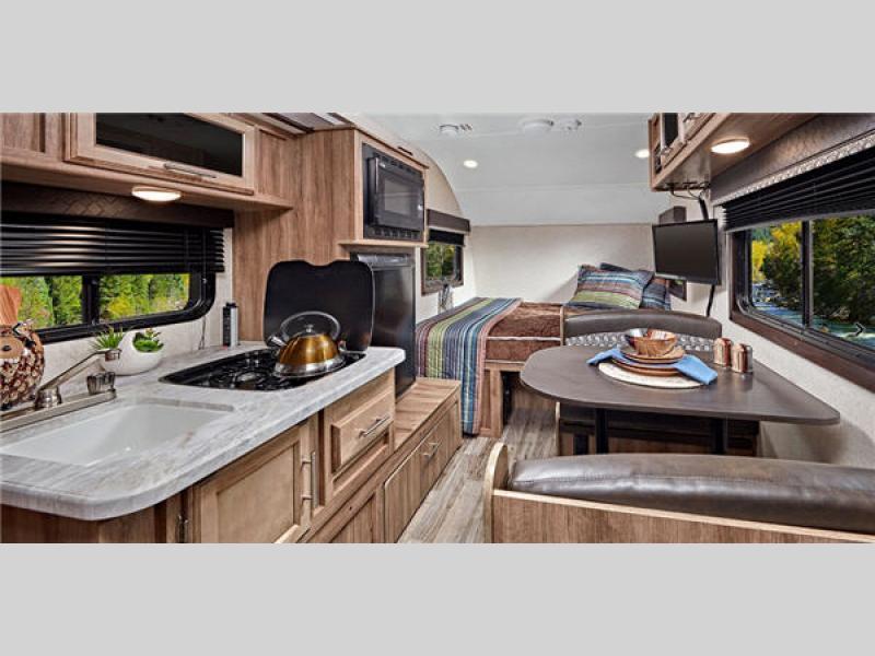 living room Jayco hummingbird travel trailer