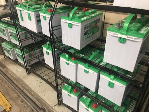 Interstate Deep Cycle Batteries on the rack