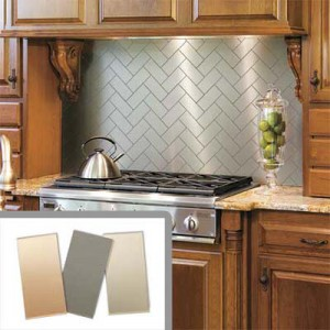 metalic backsplash