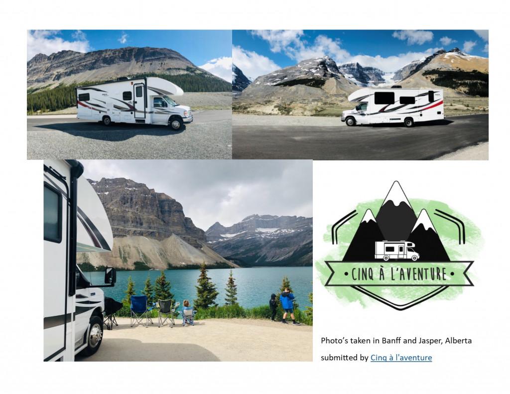 Cinq à l'aventure picture while in Banff and Jasper Alberta