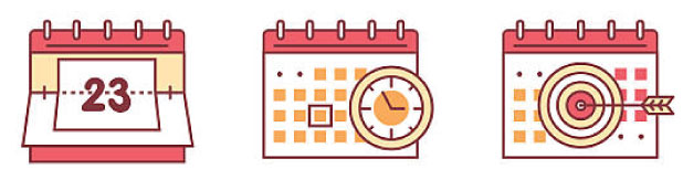 three Calendar icons with date clock and bulls-eye