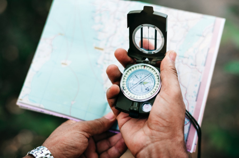 compass and camping