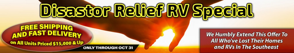 RVvalueMart Disaster Relief banner