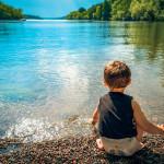 Child at lake